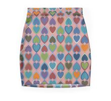 April Double Hearts on Pink Mini Skirt