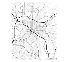 Durham Map, USA - Black and White  Photographic Print