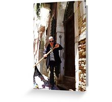 Gondolier in Action Greeting Card