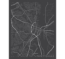 Fayetteville Map, USA - Gray Photographic Print