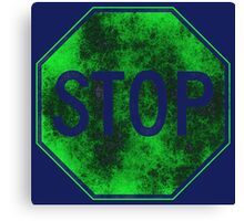 Stop Sign, Green Canvas Print