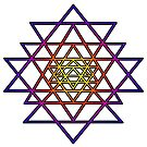 Triangle Mandala (yellow purple) Sri Yantra Sacred Geometry Symbol . by Leah McNeir