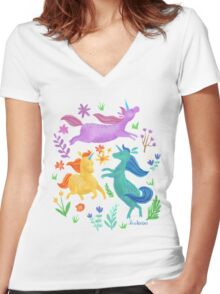 Unicorn Dreams Women's Fitted V-Neck T-Shirt