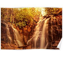 Waterfall at sunset Poster
