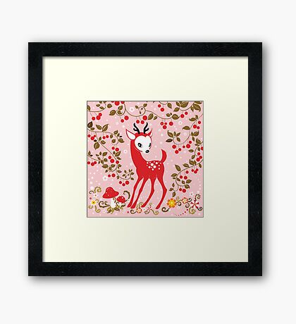 Cute Little Deer under Cherry Tree. Framed Print