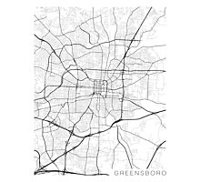 Greensboro Map, USA - Black and White Photographic Print