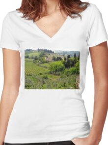 Italian Countryside Women's Fitted V-Neck T-Shirt