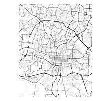 Raleigh Map, USA - Black and White Photographic Print
