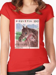 1993 Switzerland Horses Postage Stamp Women's Fitted Scoop T-Shirt