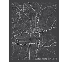 Winston-Salem Map, USA - Gray Photographic Print