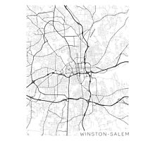 Winston-Salem Map, USA - Black and White Photographic Print