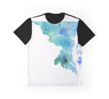 Watercolor Map of Maryland, USA in Blue and Green - Giclee Print of My Own Watercolor Painting Graphic T-Shirt