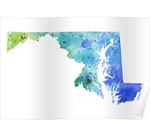 Watercolor Map of Maryland, USA in Blue and Green - Giclee Print of My Own Watercolor Painting Poster