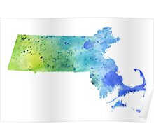Watercolor Map of Massachusetts, USA in Blue and Green - Giclee Print of My Own Watercolor Painting Poster