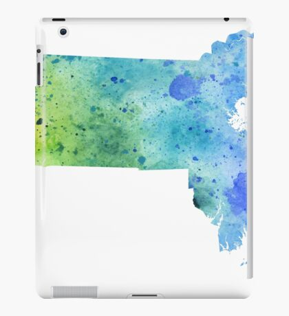 Watercolor Map of Massachusetts, USA in Blue and Green iPad Case/Skin