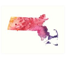 Watercolor Map of Massachusetts, USA in Orange, Red and Purple  Art Print