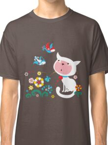 Cute White Kitty with Birds Classic T-Shirt