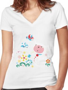 Cute White Kitty with Birds Women's Fitted V-Neck T-Shirt