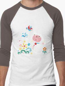 Cute White Kitty with Birds Men's Baseball ¾ T-Shirt