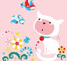 Cute White Kitty with Birds by Kimazo
