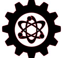 Technomage Industries Steampunk Cog - neon red outline by aromis