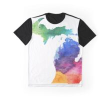 Watercolor Map of Michigan, USA in Rainbow Colors - Giclee Print of My Own Watercolor Painting Graphic T-Shirt