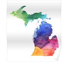 Watercolor Map of Michigan, USA in Rainbow Colors - Giclee Print of My Own Watercolor Painting Poster