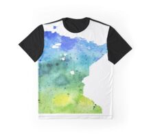 Watercolor Map of Minnesota, USA in Blue and Green - Giclee Print of My Own Watercolor Painting Graphic T-Shirt