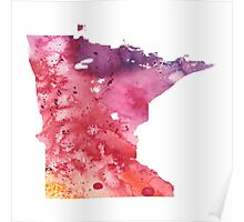 Watercolor Map of Minnesota, USA in Orange, Red and Purple - Giclee Print of my Own Painting Poster