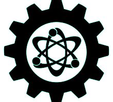 Technomage Industries Steampunk Cog - neon teal outline by aromis