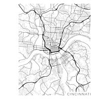Cincinnati Map, USA - Black and White Photographic Print