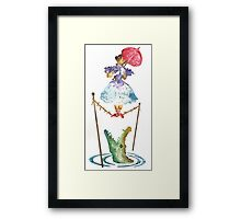 Perilous Pink Parasol - Stretching Portrait Framed Print