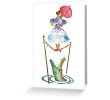 Perilous Pink Parasol - Stretching Portrait Greeting Card