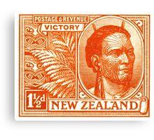 1920 New Zealand Maori Chief Postage Stamp Canvas Print