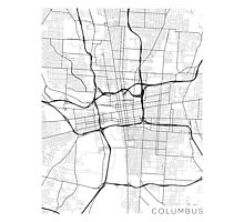 Columbus Map, USA - Black and White Photographic Print