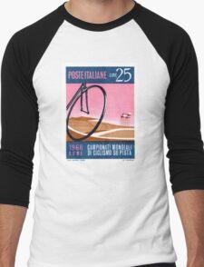 1968 Italy Bicyle Velodrome Postage Stamp Men's Baseball ¾ T-Shirt