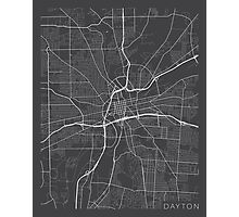 Dayton Map, USA - Gray Photographic Print
