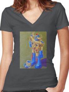 Mysterious Toy Robot Narrative Women's Fitted V-Neck T-Shirt