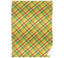 Green Yellow and Orange Plaid Fabric Design Poster