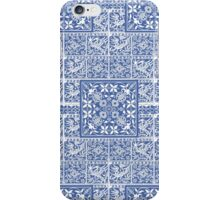 Blue Medieval Bird and Flower Pattern iPhone Case/Skin