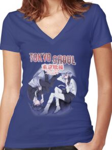 lost in thought kaneki  Women's Fitted V-Neck T-Shirt