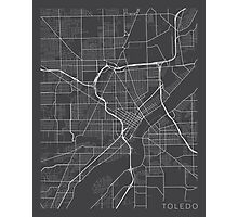 Toledo Map, USA - Gray Photographic Print