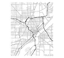 Toledo Map, USA - Black and White Photographic Print