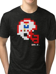 Tecmo Bowl - New England - 8-bit - Mini Helmet shirt Tri-blend T-Shirt