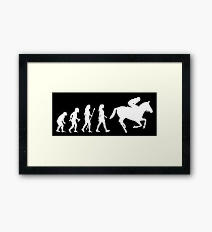 Funny Women's Horse Racing Jockey Evolution Silhouette Framed Print