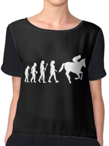 Funny Women's Horse Racing Jockey Evolution Silhouette Chiffon Top