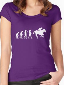 Funny Women's Horse Racing Jockey Evolution Silhouette Women's Fitted Scoop T-Shirt