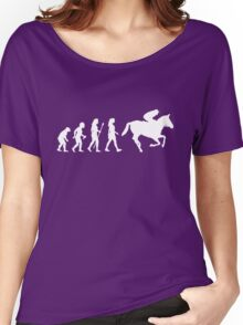 Funny Women's Horse Racing Jockey Evolution Silhouette Women's Relaxed Fit T-Shirt