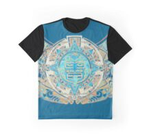 Blue Aztec Sun Graphic T-Shirt