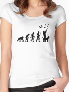 Duck Hunting Evolution Of Man Funny Silhouette Women's Fitted Scoop T-Shirt